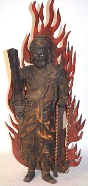 Carved wood japanese fou mo warrior lot