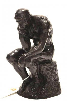 """Bronze Statue After Auguste Rodin """"the Thinker"""""""