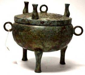 Chinese Bronze Lidded Tripod Vessel