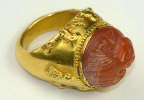 Ancient Sasanian Intaglio Mounted On Modern 18k Gold