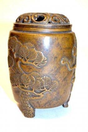 Chinese Bronze Lidded Tripod Censer