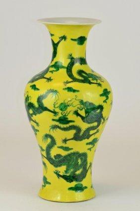 A Yellow Ground Green Enamelled Dragon Vase