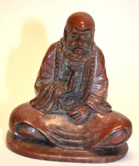 Chinese Carved Shoushan Stone Seated Lohan