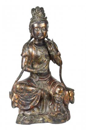Chinese Bronze Seated Guan Yin