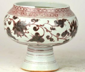 Chinese Underglaze Red Porcelain Stem Cup