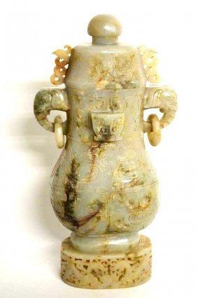 Carved Chinese Lidded Jade Vase