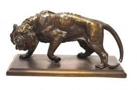 Bronze Statue Of A Prowling Lion