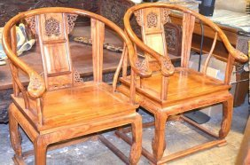 Set Of Two Chinese Hardwood Arm Chairs