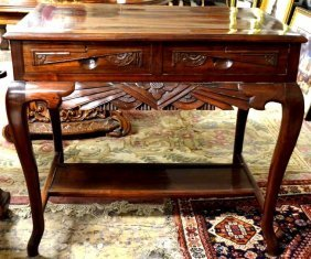 Chinese Carved Hardwood Desk