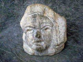 "Sculpture - Fieldstone,   ""woman's Face"",  11"","