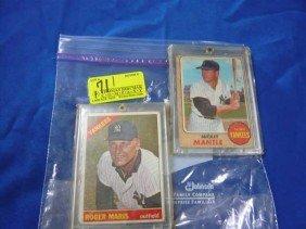 (2) Baseball Cards:  1966 Roger Maris, 385;