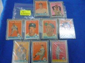 (9) Baseball Cards, 1958:  43, 275, 20b, 419, 370,