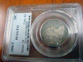 1806/5 US Quarter Dollar, PCGS F12