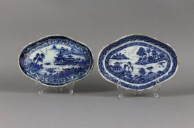 Two Chinese Export 18th C. Blue And White Trays