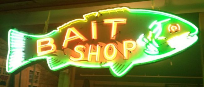 116 14 39 bait shop neon fish sign lot 116 for Fish neon sign
