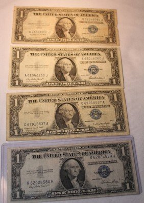 LOT OF FOUR $1 SILVER CERTIFICATES