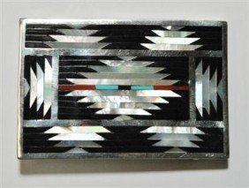 Zuni Multi-Stone Sterling Silver Buckle - C. Disht