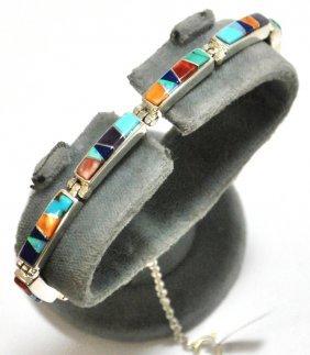 Navajo Multi-Stone Inlay Sterling Silver Link Brace
