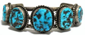 Old Pawn Sleeping Beauty Turquoise Sterling Silver Cuff
