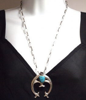 Old Pawn Navajo Kingman Turquoise Sterling Silver Neckl