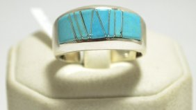 Navajo Turquoise Inlay Sterling Silver Men's Ring - Cal