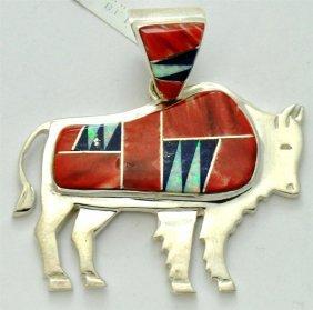 Navajo Multi-Stone Large Bull Sterling Silver Pendant -