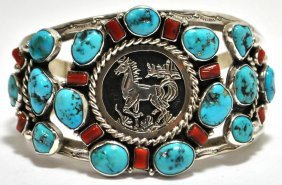 Old Pawn Coral & Turquoise Cluster Sterling Silver Hors
