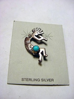 NAVAJO DANCER SILVER TURQUOISE PIN