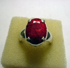 NATURAL RUBY STERLING RING SIZE 8