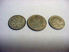 [3] CZARIST RUSSIA SILVER COINS