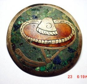 VINTAGE SIGNED MEXICAN INLAID STONE PIN