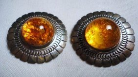 VINTAGE STERLING AMBER EARRINGS