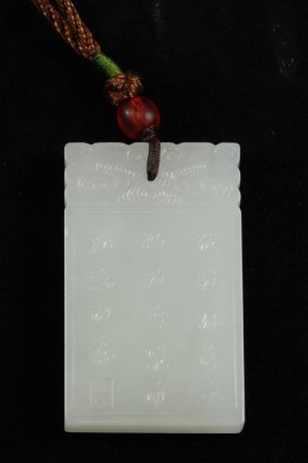 Nephrite White Jade Plaque Of A Scholar & Kid