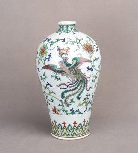 A Famille Rose Porcelain Vase Of Dragon And Phoenix