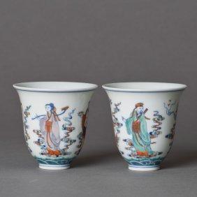 A Pair Of Doucai Porcelain Cups