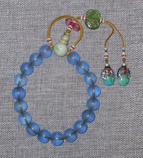 A Blue Peking-glass-beaded Bracelet