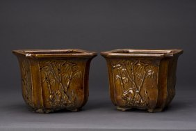 A Pair Of Square Porcelain Flower Pots