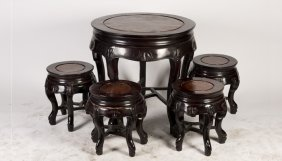 A Set Of Rosewood Teatable And Four Stools