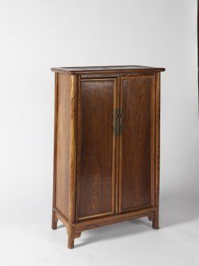 A Round-cornered Huanghuali Two-door Cabinet