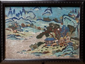 A Chinese Cloisonne Frame Painting Of Landscape