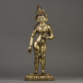 A Gilt Bronze Sculpture Of Tara