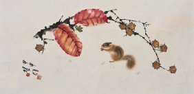 A Chinese Painting Of Squirrels