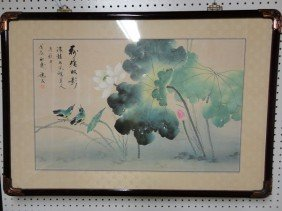 Chinese Framed Lotus Watercolor Painting