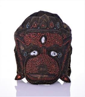 Rare Tibetan Monkey Mask Decorated And Inlaid
