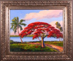 James Gibson(1938) Florida Highwayman.  Original Oil
