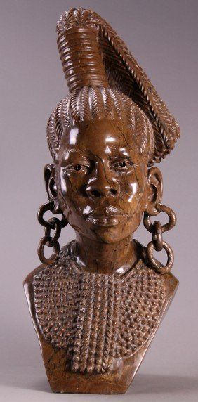 Nicholas Tandi (20th Century), Bust Of Woman Carved