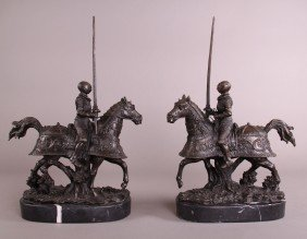 Pair Of Bronze Jousters.  Finely Detailed With Marb
