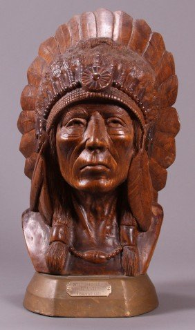 American Indian Hand Carved Wooden Bust.  A Tribal