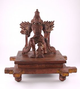 Antique Garuda Wood Carving Vahana Of Lord Vishnu With