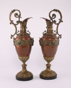 Pair Of Victorian Copper And Bronze Ewers With Marble